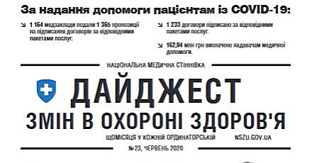 ДАЙДЖЕСТ ЗМІН В ОХОРОНІ ЗДОРОВ'Я №23 (червень 2020 року)